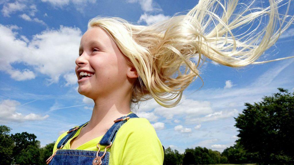 Hair in wind